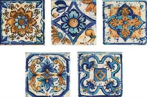 Dekor Multi Sumatra modrá 6x6 cm, mat