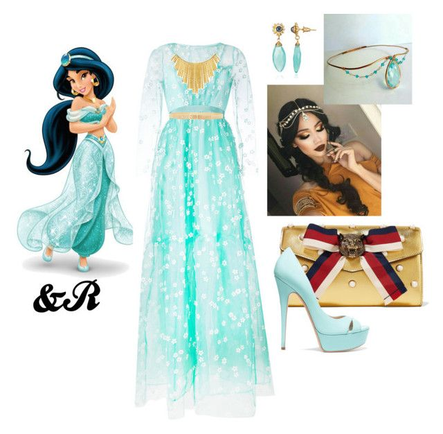 """""""Disney Inspiration : Jasmine"""" by stylebydnr on Polyvore featuring Gucci, SI-JAY, Casadei, BERRICLE and Lanvin"""