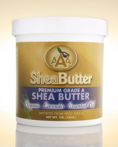 100% Unrefined Certified Grade A Shea Butter with a Hint of Organic Lavender Essential Oil 16 oz. By AAA Shea Butter by AAA Shea Butter. $30.00. Stretch mark prevention during pregnancy, Eczema, Dermatitis. Blemishes and wrinkles, Sunburn, Skin cracks, Insect bites. Dry Skin, Skin Rash, Skin peeling after tanning, Itchy skin. Tough or rough skin (on feet), Frost bites, Healthy skin. ALL SHEA BUTTERS ARE NOT EQUAL!   100% Pure & Natural Shea Butter is an all-natura...