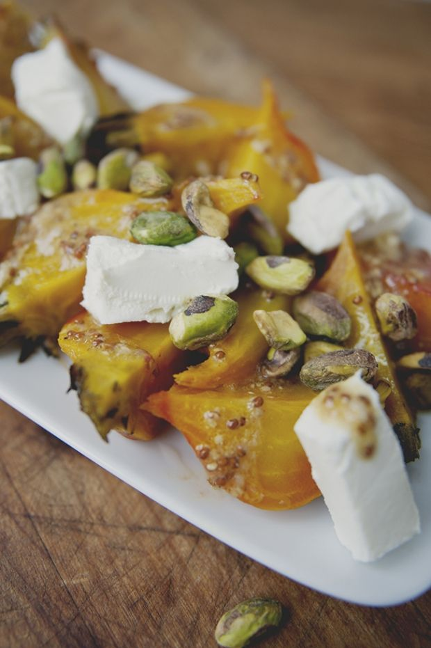 Roasted beet salad with pistachios and goat cheese