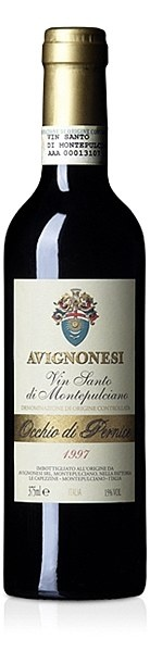 """Avignonesi Vinsanto Occhio di Pernice 1998 - """"Elegance and balance are the key words for the 1998 Occhio di Pernice; a cooler year in Montepulciano regaled us with smoky, nutty aromas on top of the characteristic warm and enveloping structure of this wine.""""  FOOD PAIRINGS  This sweet wine is best enjoyed on its own, as an after-dinner drink, served in wide crystal glasses."""