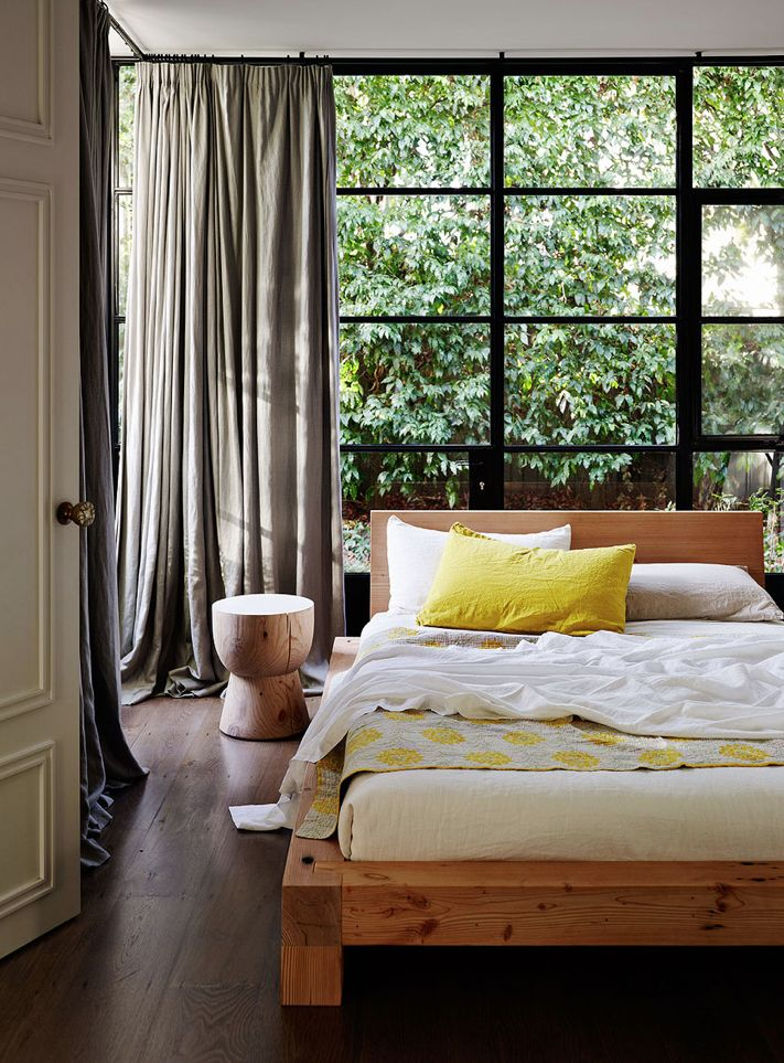 Oh wow, loving the timber, black framed windows and the pop of yellow. #interiordecor #yellow