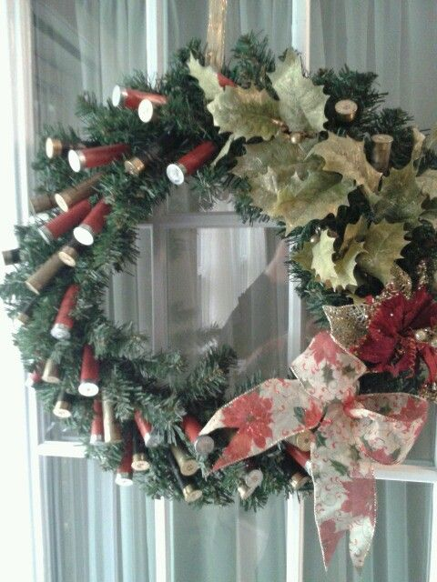 """The 12 Gauges of Christmas """"Big Daddy"""" Wreath made with recycled 12 gauge shotgun shells"""