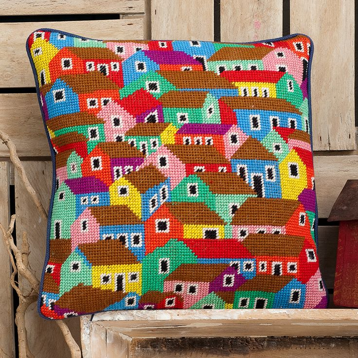 "Brandon's SHANTY TOWN 14.5"" needlepoint cushion kit design"