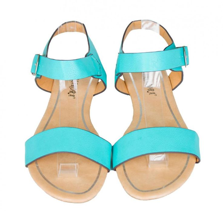 Sandale Dama Wide Belts Turqoise  -Sandale dama talpa joasa si comoda  -Catarama lateral exterior