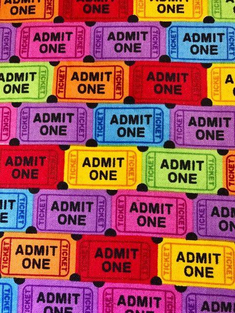 Admit one.  movie tickets. theater tickets