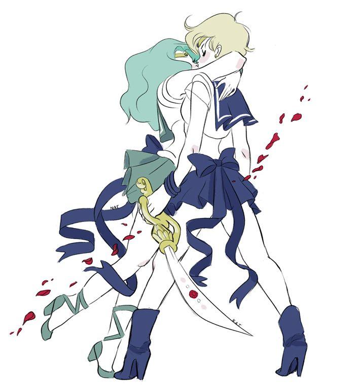 sailor moon, sailor neptune, michiru kaioh, sailor uranus, haruka tenoh