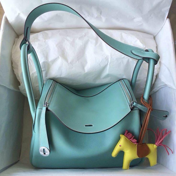 New Color 3P Lagon Blue Swift Leather Hermes Lindy Bag 30cm Silver Hardware — Hermes Crocodile Birkin Bag