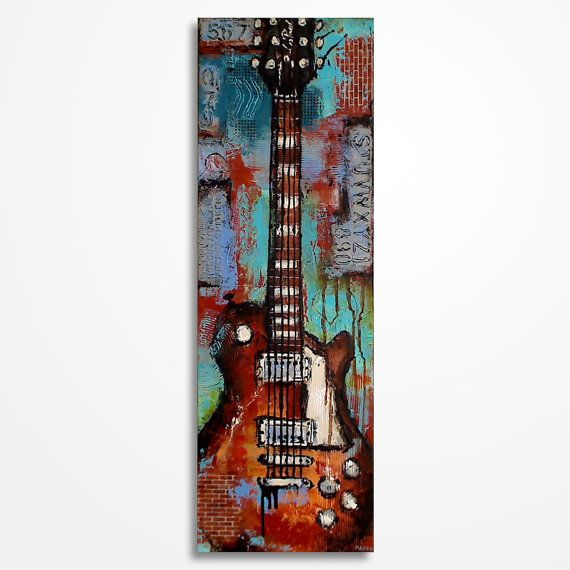 Gift for a musician Guitar painting Textured Music by MagdaMagier