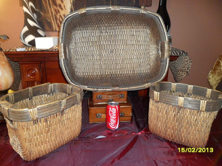 3pc~~Vintage~~COLLECTIBLE PRIMITIVE STYLE WOVEN SEWING BASKET BRAIDED HANDLES