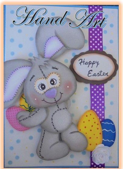 Gift cards made with Eva foam, Goma Eva, Foami. Bunny Easter card