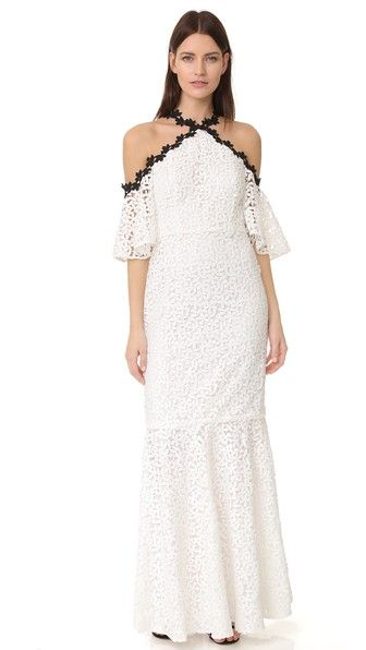 Jill Jill Stuart Кружевное вечернее платье с открытыми плечами и подолом «русалка»