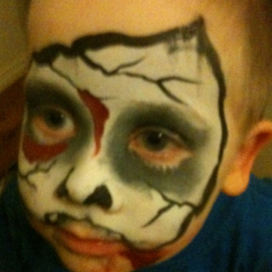 Gruesome face painting from my husband's work Christmas Party last year!