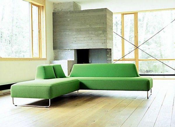 Nordic furniture green corner sofa
