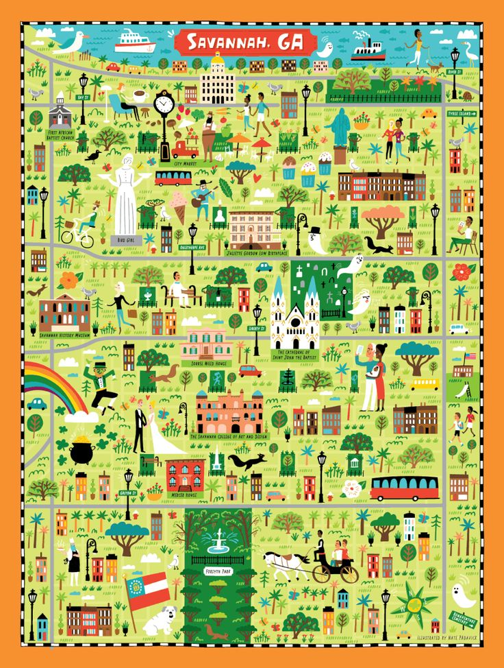 Illustrated map of Savannah, GA for True South Puzzle Co. by Nate Padavick (idrawmaps.com)