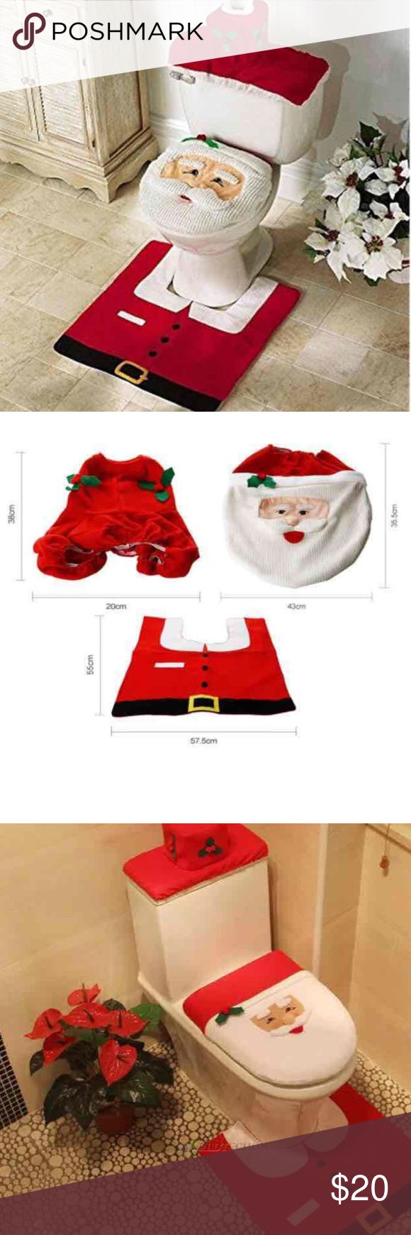 New 3pcs Christmas Toilet Cover And Rug Set This cute with a smiley face snowman as its decor for your bathroom for christmas holidays! Great addition to boost up your holiday spirit! And it can transform your normal every day bathroom look to something spiritual like this set!  Specification  Toilet Seat Cover Size: 42 x 33cm (16.54 x 12.99inch) Rug Size: 55 x 57.5cm (21.65 x 22.24inch) Color: Red  Features  -Great Addition To The Holiday Spirit With A Cute Smiley Face Snowman -Toilet Seat…