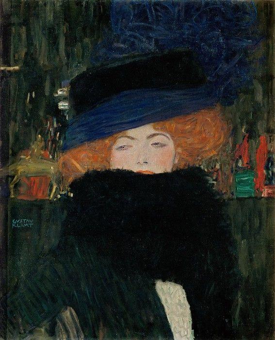 Дама в шляпке и боа из перьев. Густав Климт