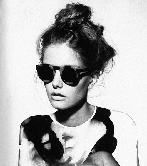 //: Shades, Fashion, Inspiration, Style, Beautiful, Messy Buns, Round Sunglasses, Hair, Tops Knot