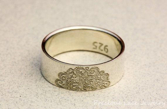 Anillo de plata con cordón hermoso sello, anillo de aniversario, anillo de boda, anillo de bodas, anillo de plata, único anillo de plata, anillo de sello de cordón