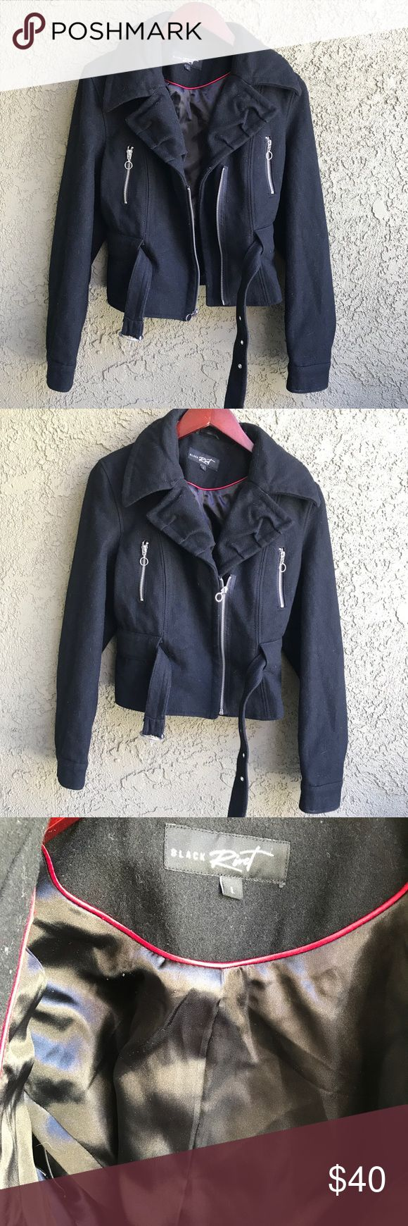 Black Rivet Zip up Wool Pea Coat sz L Black Rivet pea coat, women's size L. Sold at Nordstrom and Wilson's Leather. Black in color with silver hardware. Zip up front chest pockets. Waist belt can be cinched to emphasize waist. Cuffed sleeves. Fully lined inside. Wool/polyester/nylon blend. EUC - no visible flaws but may have gotten dusty from storage.   Measurements:  shoulder to shoulder: 16.75 pit to pit: 17.5 length: 20.75 Black Rivet Jackets & Coats Pea Coats
