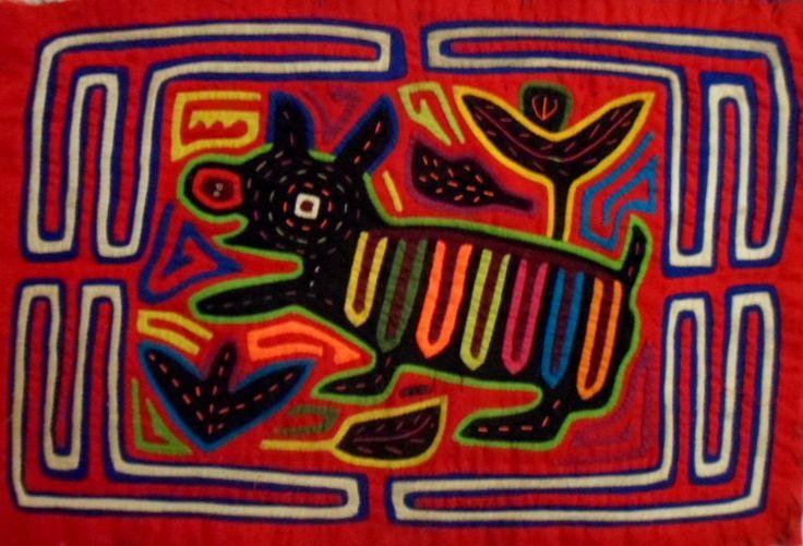 Kuna Indian San Blas Red Nose Dog Mola-Panama 17051517L