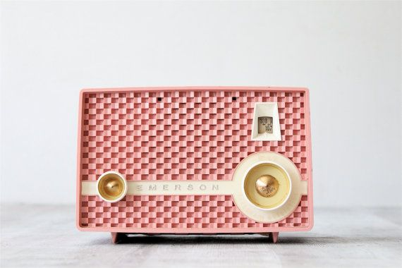 Vintage Pink Emerson Radio by lovintagefinds on Etsy