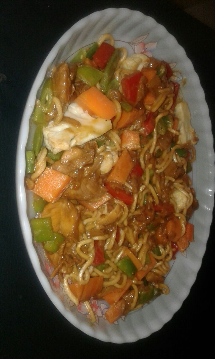 Spivey chicken with veg on noodles