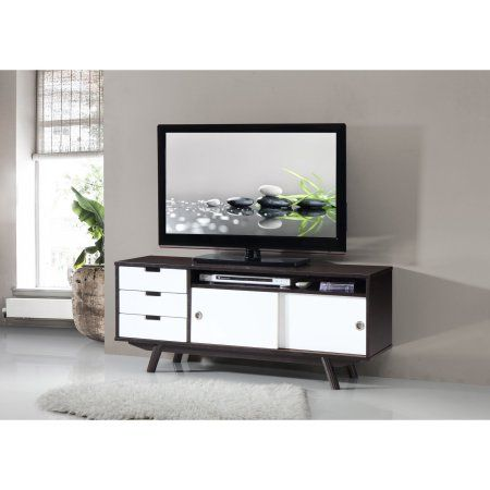 Techni Mobili Modern Wood Veneer 55 inch TV Stand with Sliding Doors, Wenge, Brown