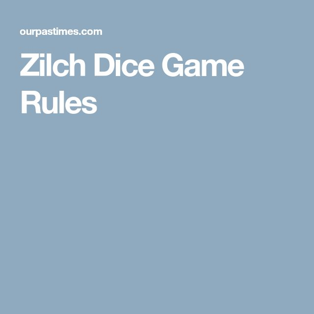 Zilch Dice Game Rules