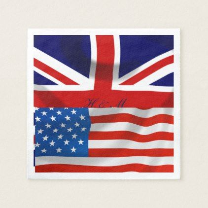 American and British flags  Royal Wedding Paper Napkin - wedding decor marriage design diy cyo party idea