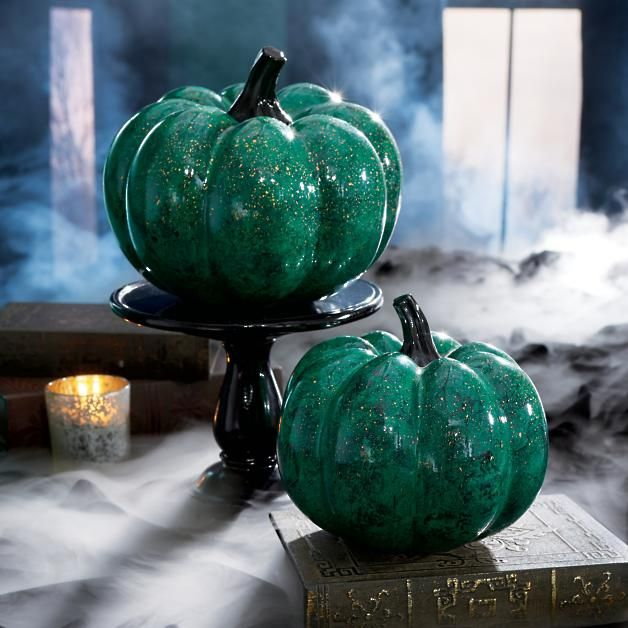 Marbles Halloween 2020 Green Marble Pumpkins, Set of Two in 2020 | Green marble
