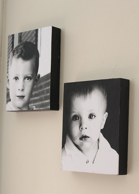 Photos, wood, black paint, and Modge Podge - Perfect for pictures of Paris:)