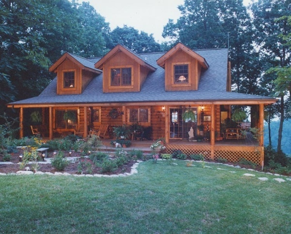 Log cabin building plans free woodworking projects plans for Log homes with wrap around porches