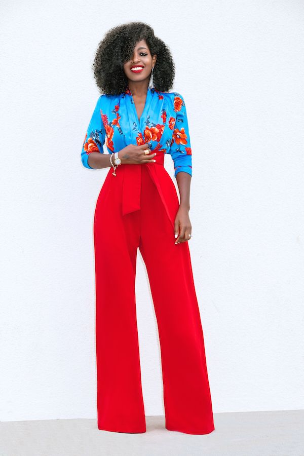 Style Pantry | Floral Bodysuit + High Waist Belted Pants