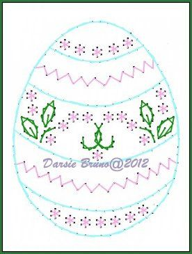 Fancy Floral Egg Easter Embroidery Pattern for Greeting par Darse
