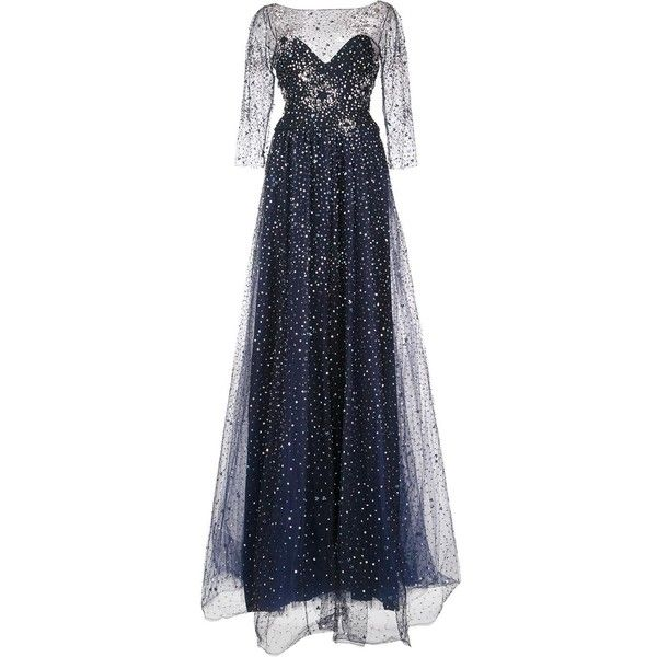Marchesa Notte embellished gown (6.450 BRL) ❤ liked on Polyvore featuring dresses, gowns, marchesa, black, embelished dress, embellished evening gowns, embellished evening dress, notte by marchesa gown and nylon gown