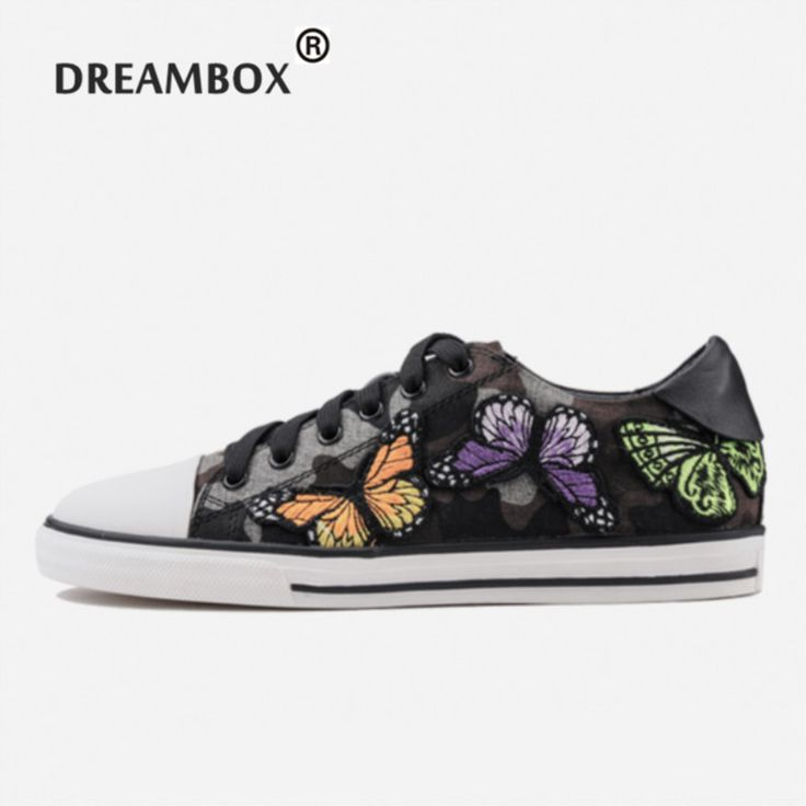 Popular Top Quality Brand 2017 Embroidered Butterfly Causal Lace-Up Shoes  Canvas Fashion Trend 1