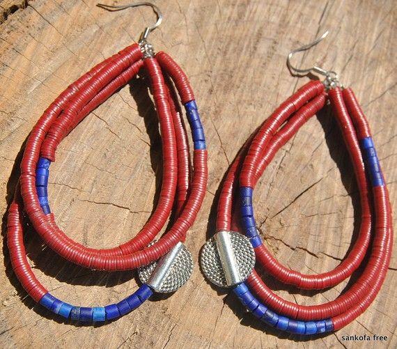 Ashanti Warrior  Hoop Earrings- African Jewelry - Tribal Jewelry - Ethnic Jewelry - Boho Jewelry - Fashion Jewelry