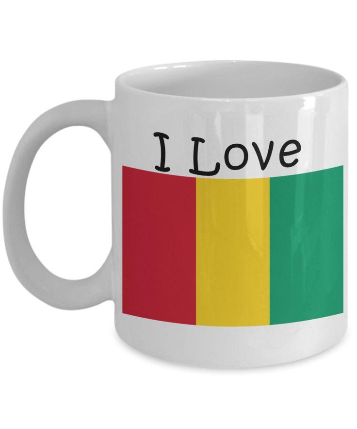 I Love Guinea Coffee Mug With A Flag