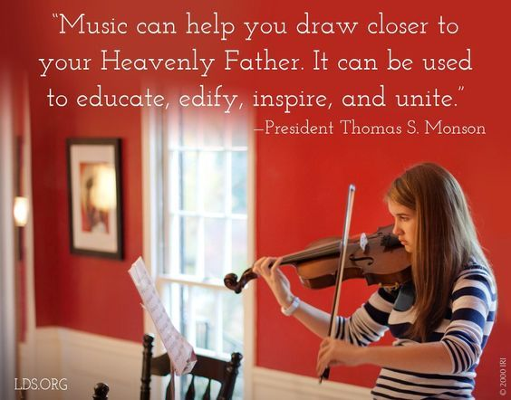 """Music can help you draw closer to your Heavenly Father. It can be used to educate, edify, inspire, and unite. However, music can, by its tempo, beat, intensity, and lyrics, dull your spiritual sensitivity. You cannot afford to fill your minds with unworthy music."" From #PresMonson's http://pinterest.com/pin/24066179228814793 inspiring #LDSconf http://facebook.com/223271487682878 message http://lds.org/general-conference/2010/04/preparation-brings-blessings #ShareGoodness"