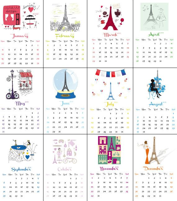 INSTANT DOWNLOAD VIA ETSY!    2015 Academic Calendar - From July 2014 through to December 2015 – Lovely Paris, France! (English version)    A lovely