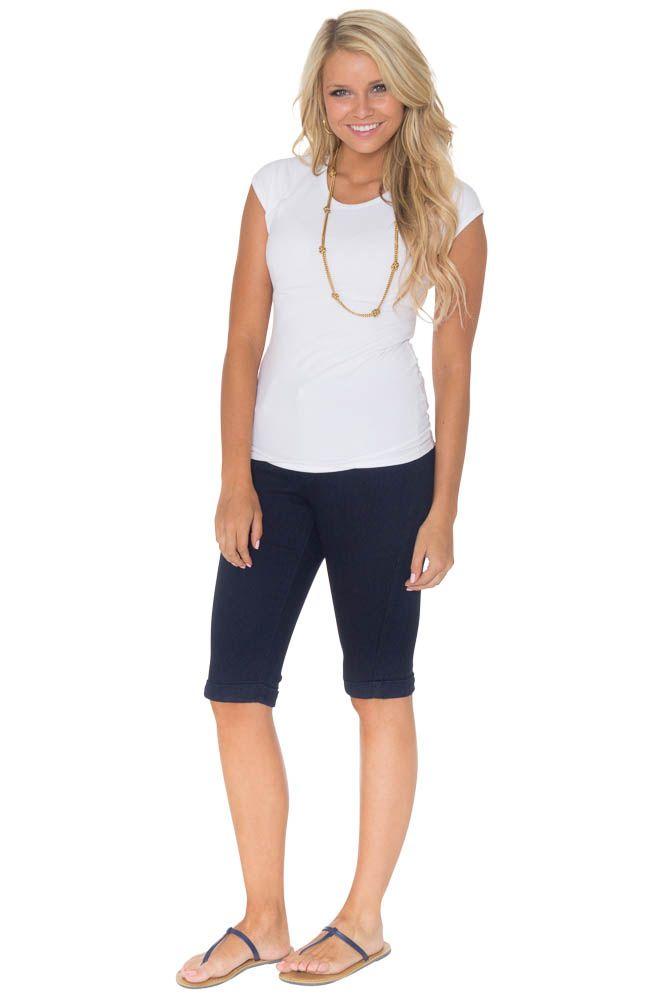 Women's Colored Denim Modest Bermuda Shorts, Navy
