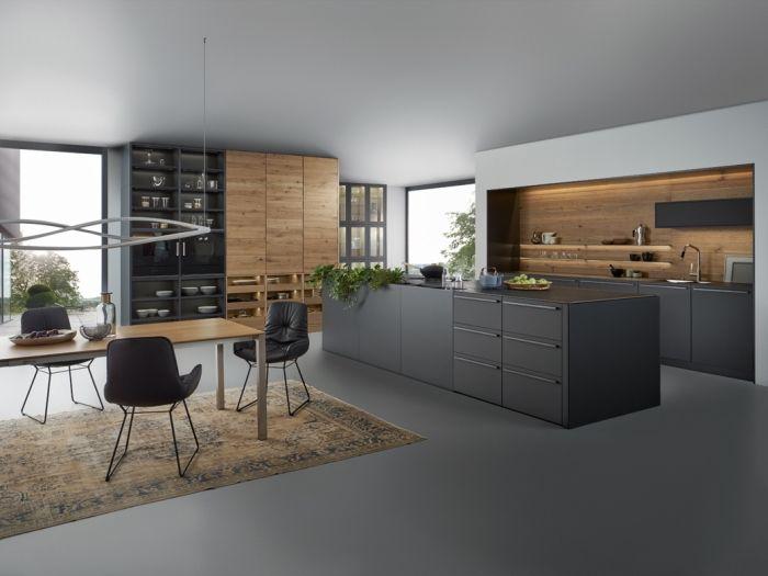 1001 Alternative Pour Un Revetement Mural De Cuisine Fantastique Cuisines Design Cuisine Noire Cuisine Noire Et Bois