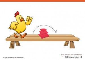 Bewegingskaarten kip voor kleuters 11, Over de bank over de pittenzakken , kleuteridee.nl , thema Lente, Movementcards for preschool,  free ...