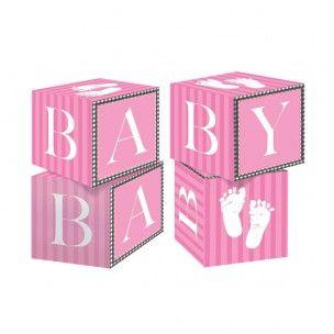 4 cubes centre de table petits pieds roses