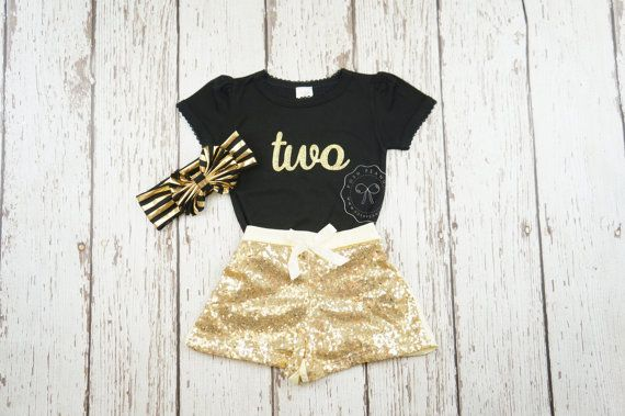 Noir et or premier anniversaire tenue-Glitter or anniversaire chemise - or filles anniversaire tenue-Glitter or Body - 2ème anniversaire outfit