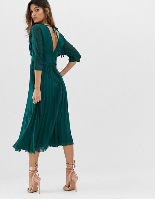 c6ec312b31 DESIGN pleated midi dress with batwing sleeves in 2019