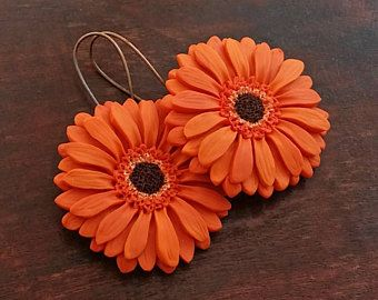 Pastel Peach Gerbera Daisy Necklace From Polymer Clay  Flower