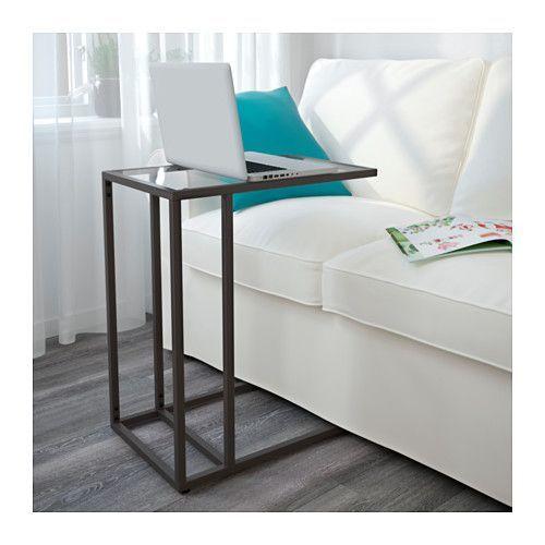 VITTSJÖ Laptop stand - black-brown/glass - IKEA