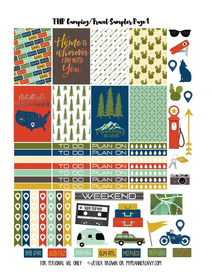 Free Printable Camping/Travel Sampler Page 1 for the Regular Happy Planner on myplannerenvy.com